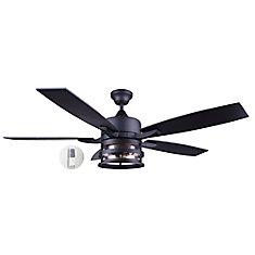 Ventilateur de plafond à DEL Pemberton, 52 po, noir mat avec verre à graines