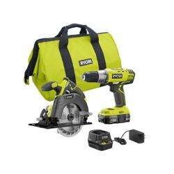 RYOBI 18V ONE+ Drill and Circular Saw Kit with 2.0 Ah Battery and Charger