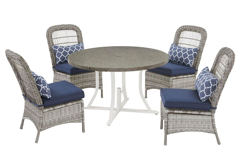 Hampton Bay Beacon Park Gray 5pc Wicker Dining Set - Midnight cushions