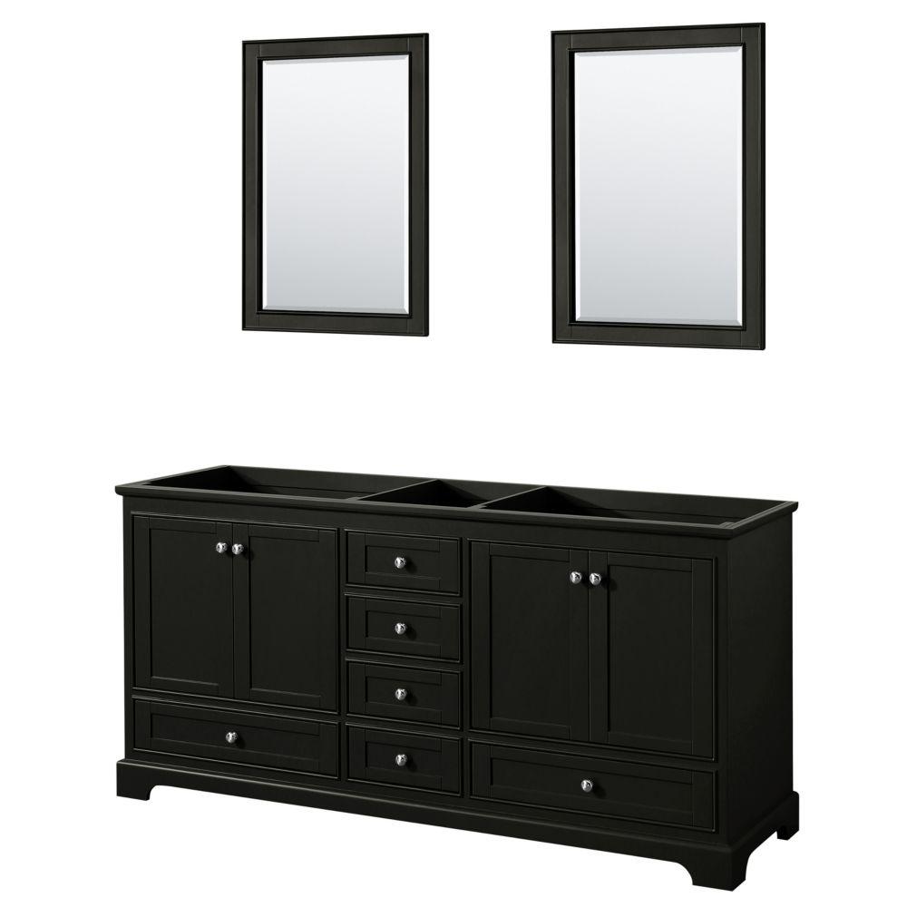 Wyndham Collection Deborah 72 Inch Double Vanity in Dark Espresso, No Counter, No Sinks, 24 Inch Mirrors