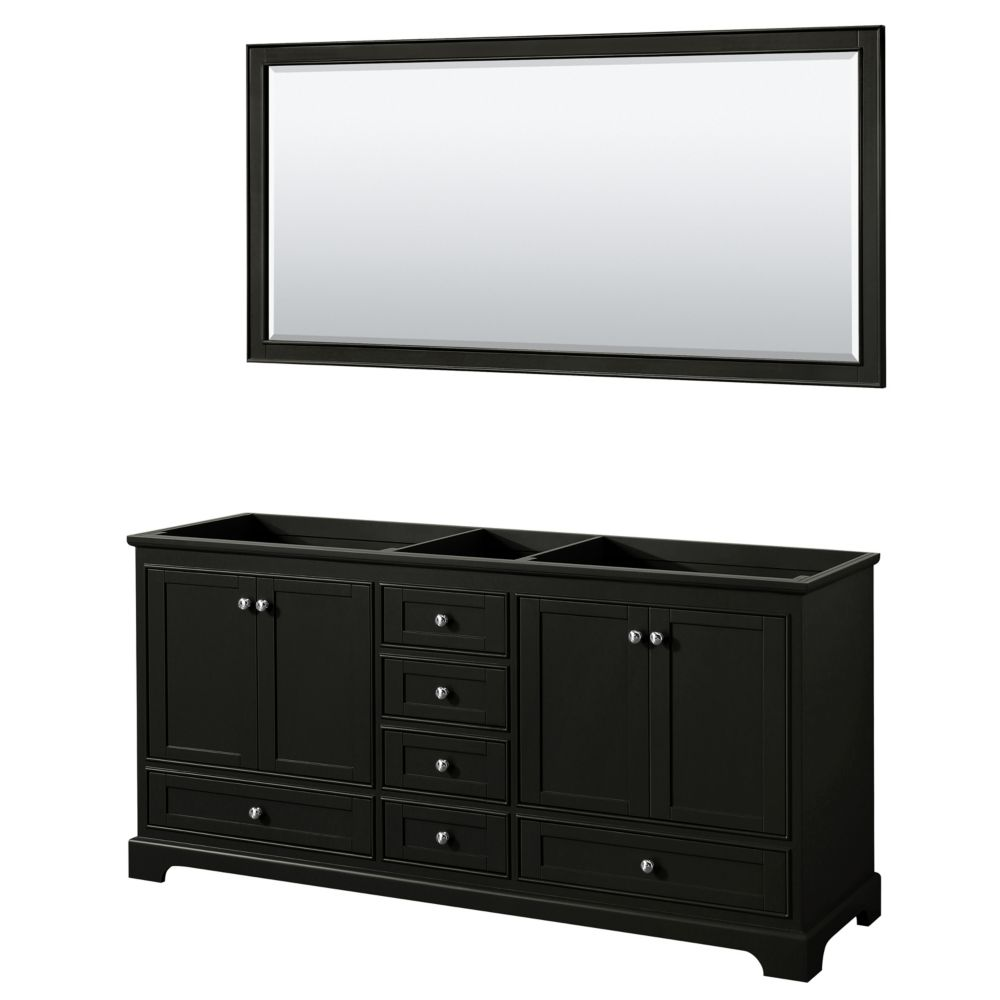 Wyndham Collection Deborah 72 Inch Double Vanity in Dark Espresso, No Counter, No Sinks, 70 Inch Mirror