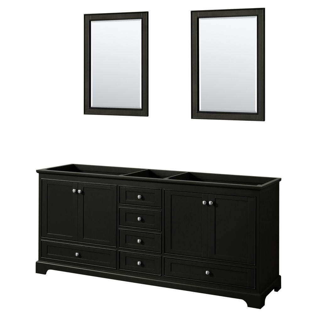 Wyndham Collection Deborah 80 Inch Double Vanity in Dark Espresso, No Counter, No Sinks, 24 Inch Mirrors