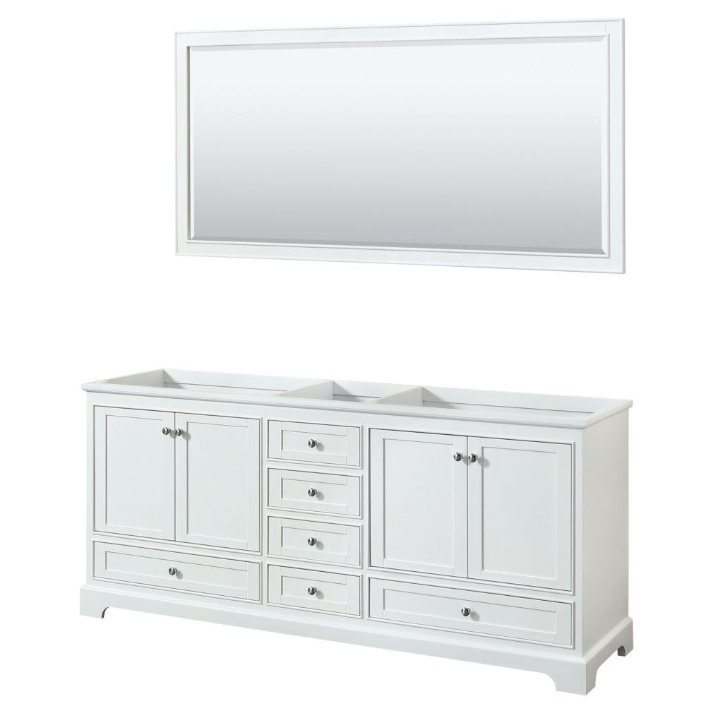 Wyndham Collection Deborah 80 Inch Double Vanity in White, No Counter, No Sinks, 70 Inch Mirror