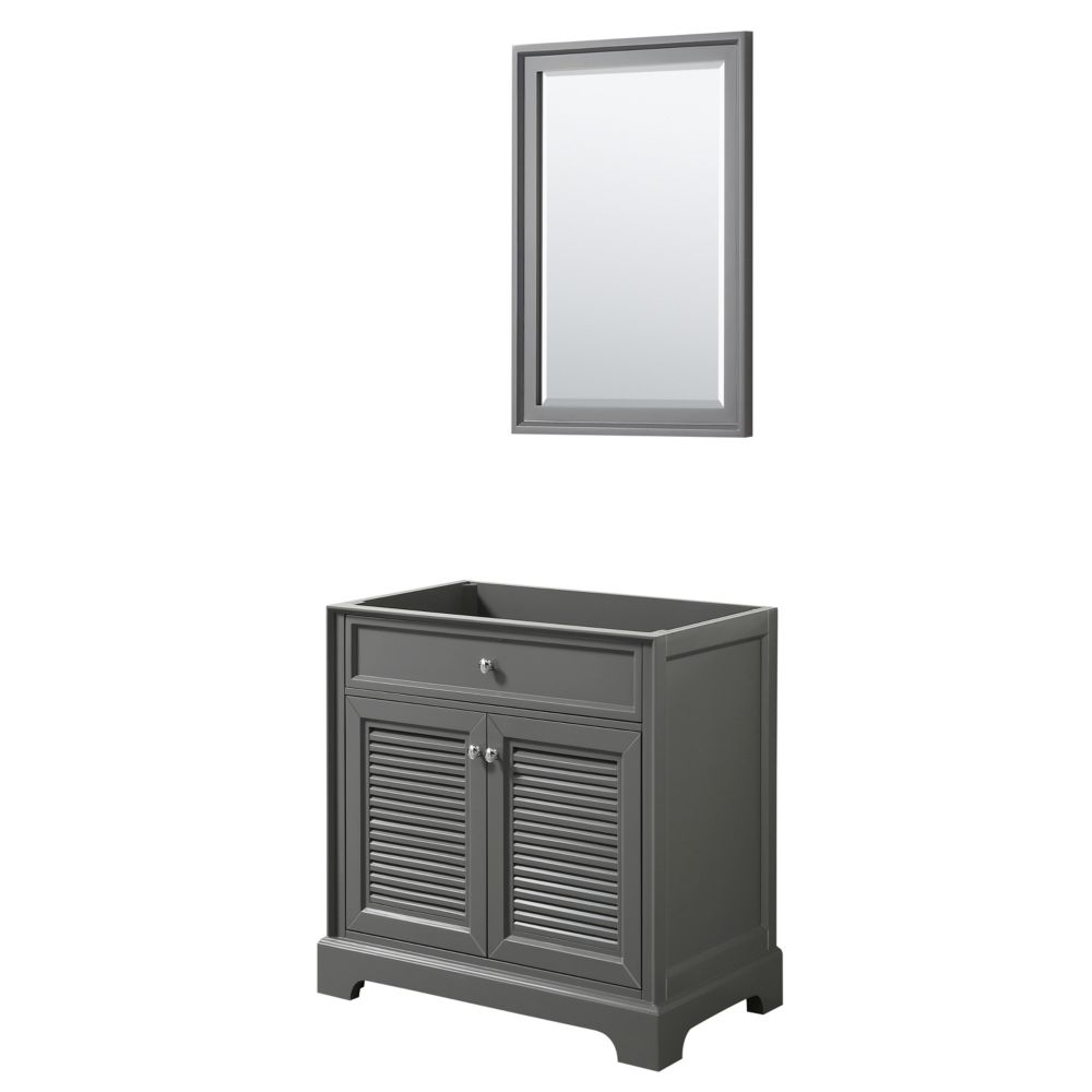 Wyndham Collection Tamara 30 inch Single Bathroom Vanity in Dark Gray, No Counter, No Sink, 24 inch Mirror