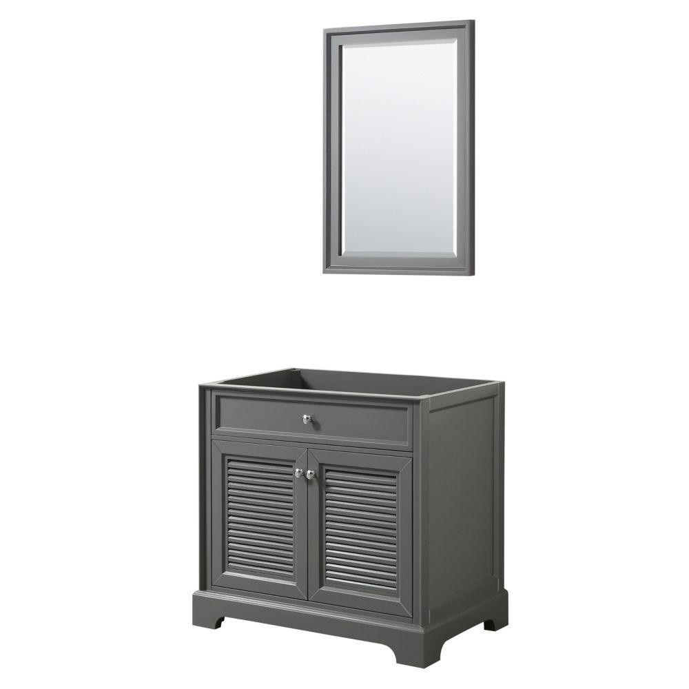 Wyndham Collection Tamara 36 inch Single Bathroom Vanity in Dark Gray, No Counter, No Sink, 24 inch Mirror