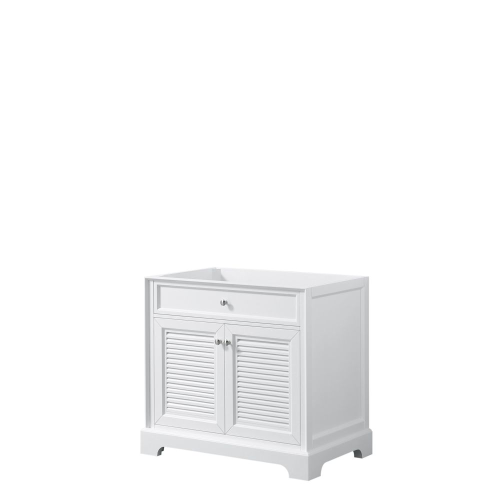 Wyndham Collection Tamara 36 inch Single Bathroom Vanity in White, No Counter, No Sink, No Mirror