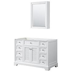 Tamara 48 inch Single Bathroom Vanity in White, No Counter, No Sink, Medicine Cabinet