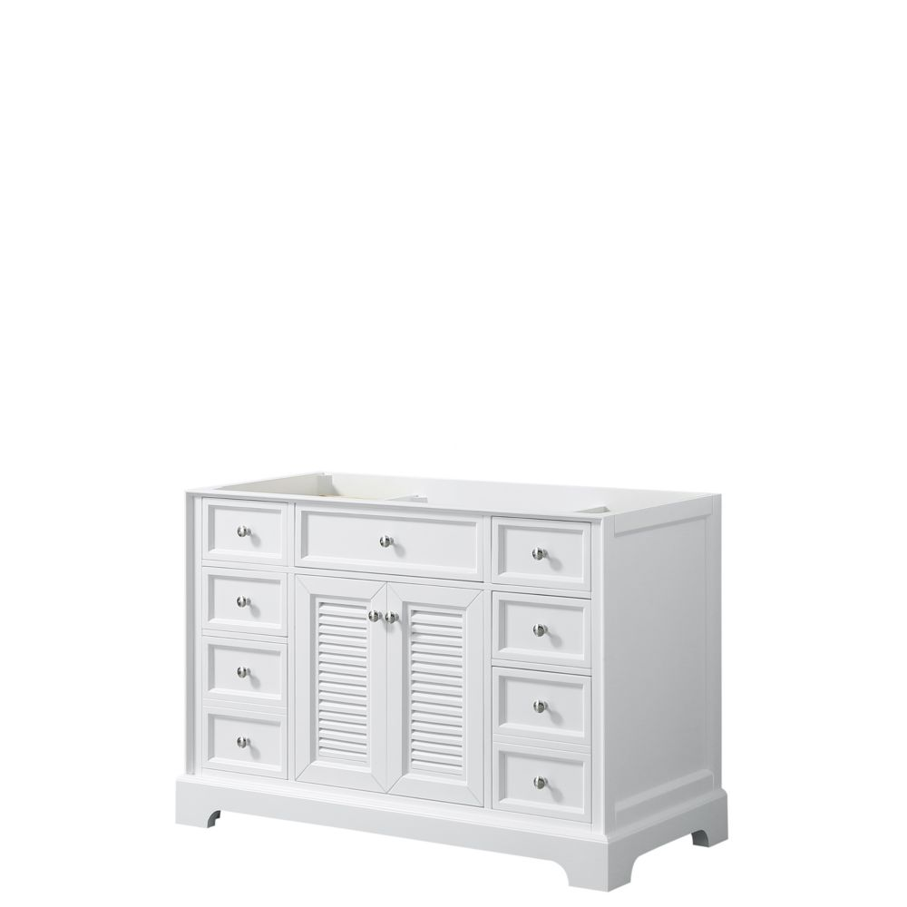 Wyndham Collection Tamara 48 inch Single Bathroom Vanity in White, No Counter, No Sink, No Mirror
