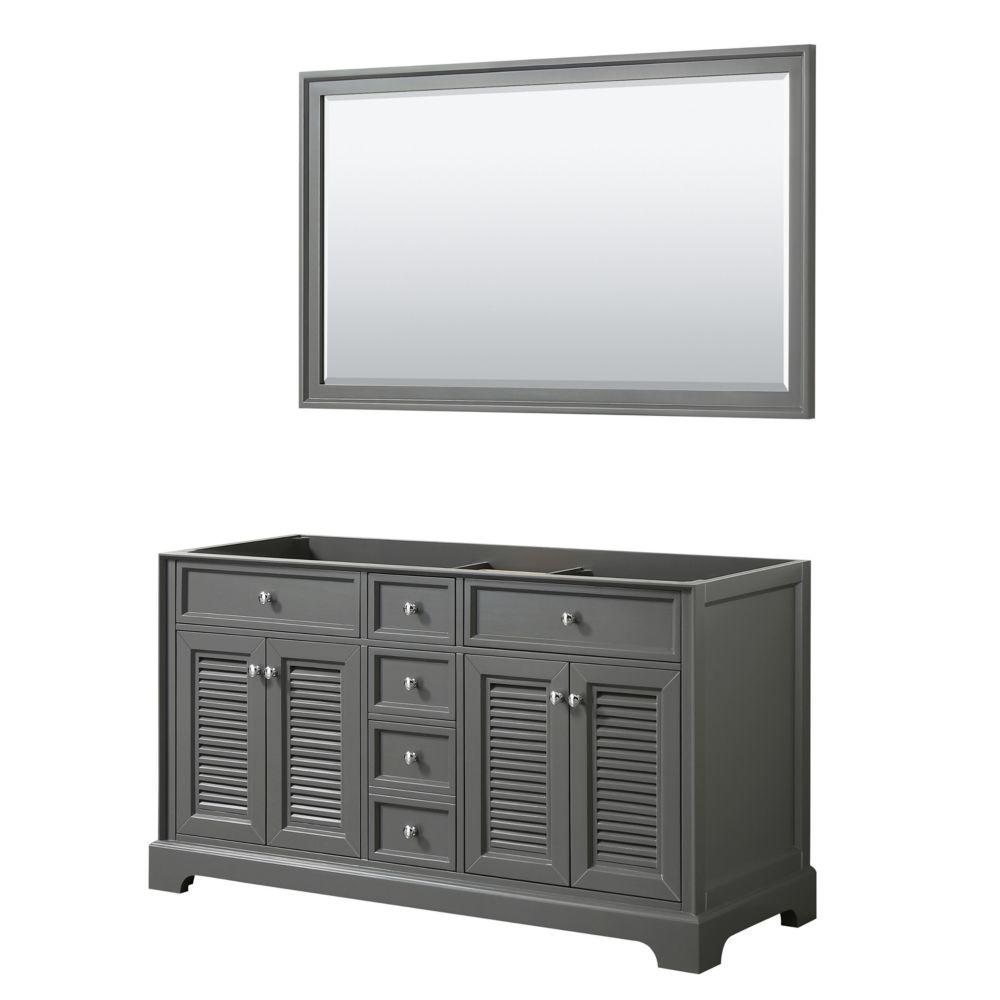 Wyndham Collection Tamara 60 inch Double Bathroom Vanity in Dark Gray, No Counter, No Sink, 58 inch Mirror