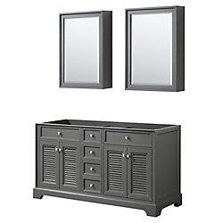 Wyndham Collection Tamara 60 inch Double Bathroom Vanity in Dark Gray, No Counter, No Sink, Medicine Cabinets