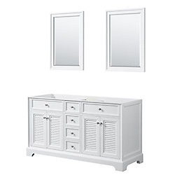 Wyndham Collection Tamara 60 inch Double Bathroom Vanity in White, No Counter, No Sink, 24 inch Mirrors