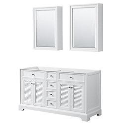Wyndham Collection Tamara 60 inch Double Bathroom Vanity in White, No Counter, No Sink, Medicine Cabinets