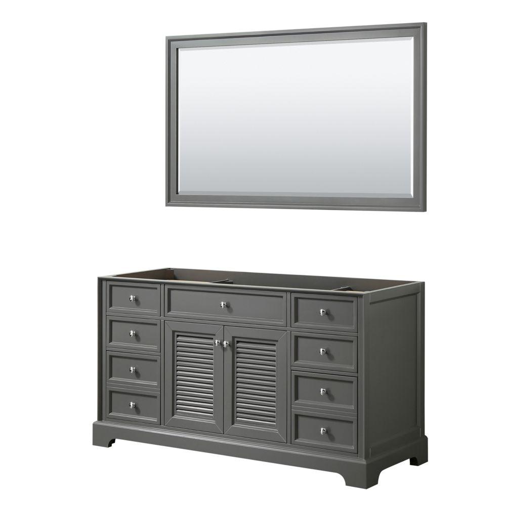 Wyndham Collection Tamara 60 inch Single Bathroom Vanity in Dark Gray, No Counter, No Sink, 58 inch Mirror