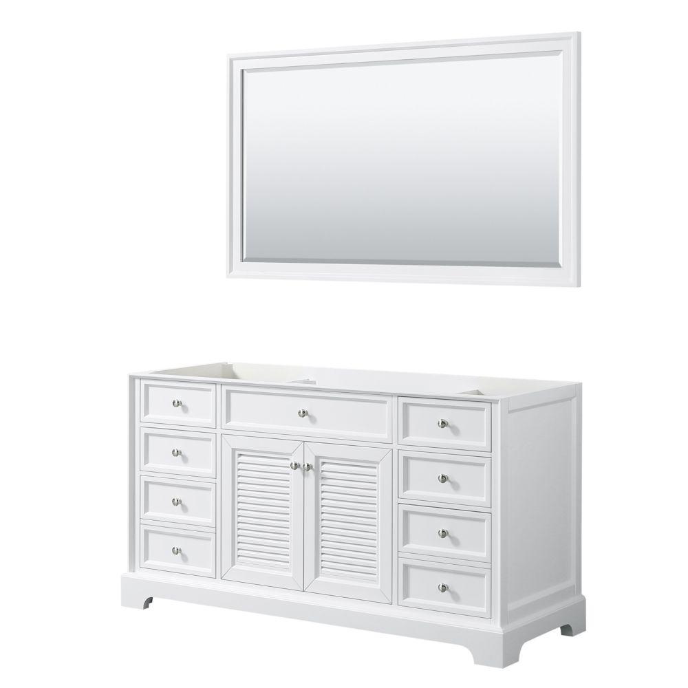 Wyndham Collection Tamara 60 inch Single Bathroom Vanity in White, No Counter, No Sink, 58 inch Mirror