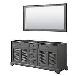 Wyndham Collection Tamara 72 inch Double Bathroom Vanity in Dark Gray, No Counter, No Sink, 70 inch Mirror