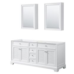 Wyndham Collection Tamara 72 inch Double Bathroom Vanity in White, No Counter, No Sink, Medicine Cabinets