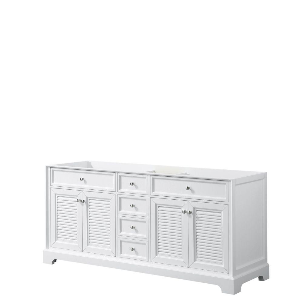 Wyndham Collection Tamara 72 inch Double Bathroom Vanity in White, No Counter, No Sink, No Mirror
