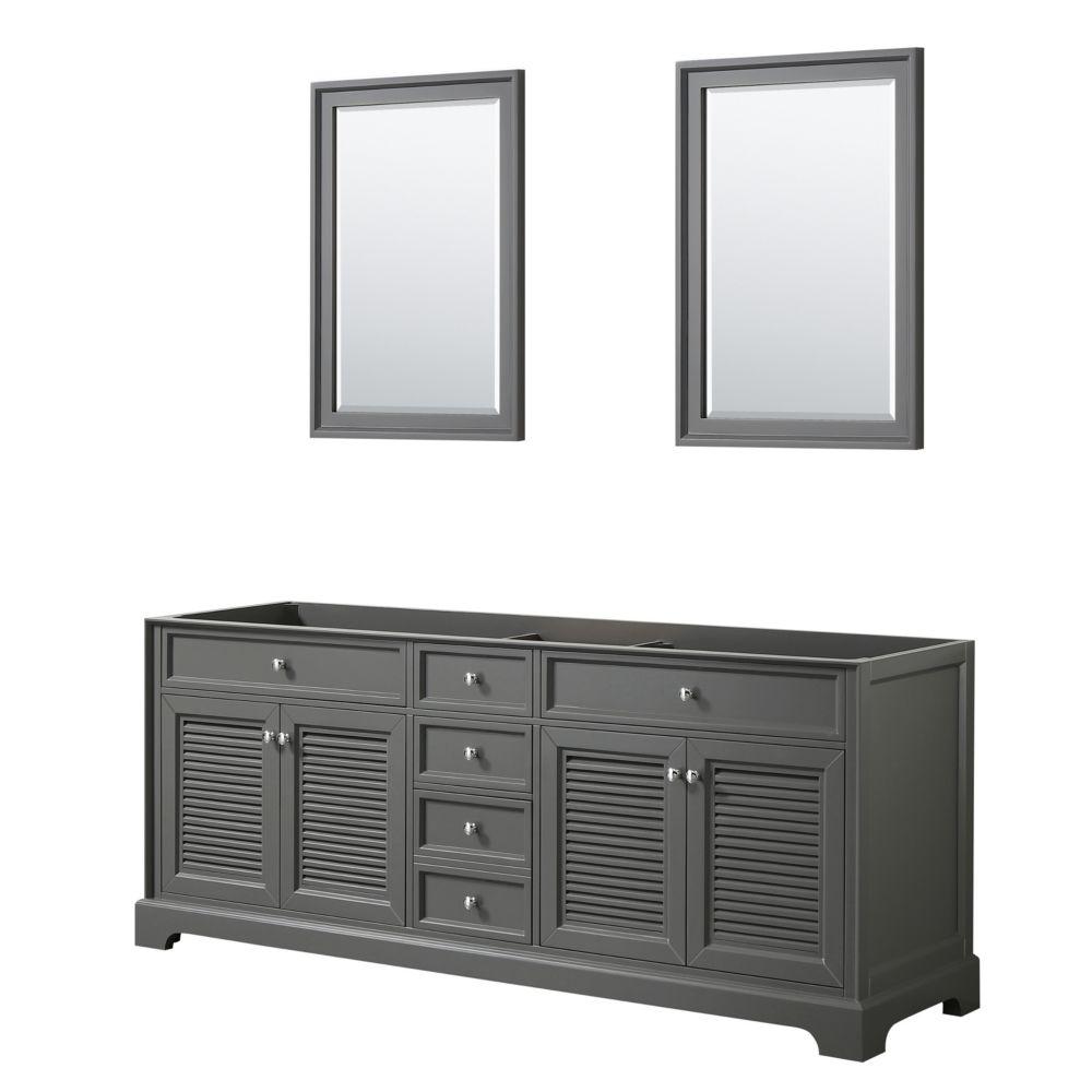 Wyndham Collection Tamara 80 inch Double Bathroom Vanity in Dark Gray, No Counter, No Sink, 24 inch Mirrors