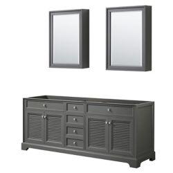 Wyndham Collection Tamara 80 inch Double Bathroom Vanity in Dark Gray, No Counter, No Sink, Medicine Cabinets
