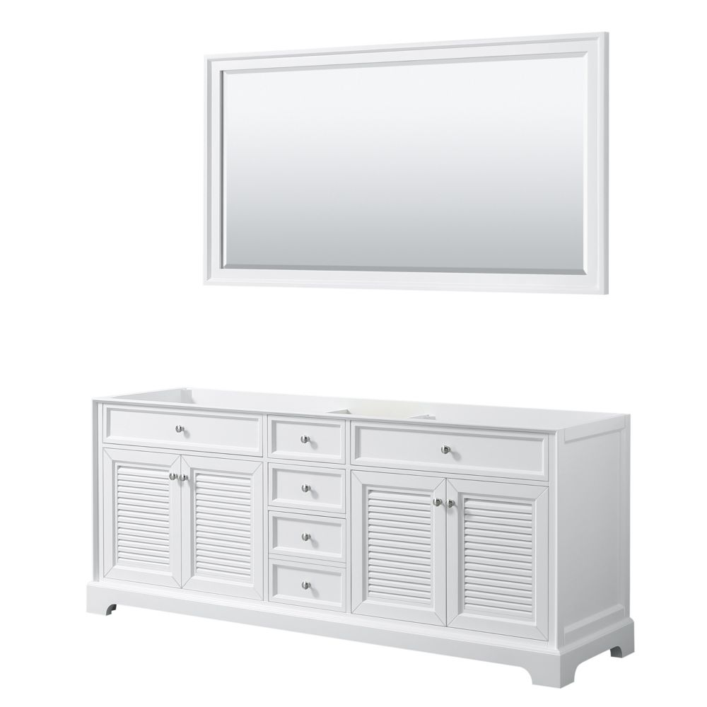 Wyndham Collection Tamara 80 inch Double Bathroom Vanity in White, No Counter, No Sink, 70 inch Mirror