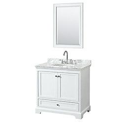 Wyndham Collection Deborah 36 Inch Single Vanity in White, Carrara Marble Top, Oval Sink, 24 Inch Mirror