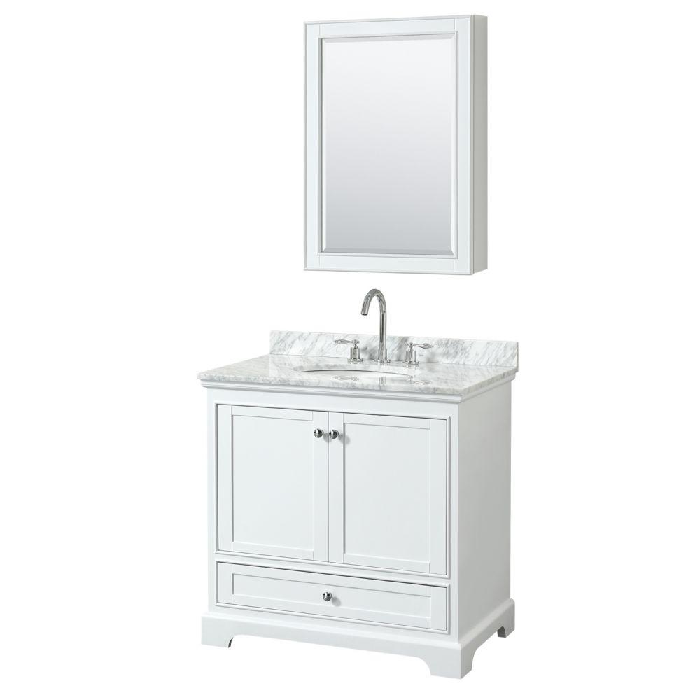 Wyndham Collection Deborah 36 Inch Single Vanity in White, Carrara Marble Top, Oval Sink, Medicine Cabinet