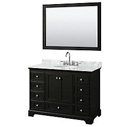 Wyndham Collection Deborah 48 Inch Single Vanity in Dark Espresso, Carrara Marble Top, Oval Sink, 46 Inch Mirror