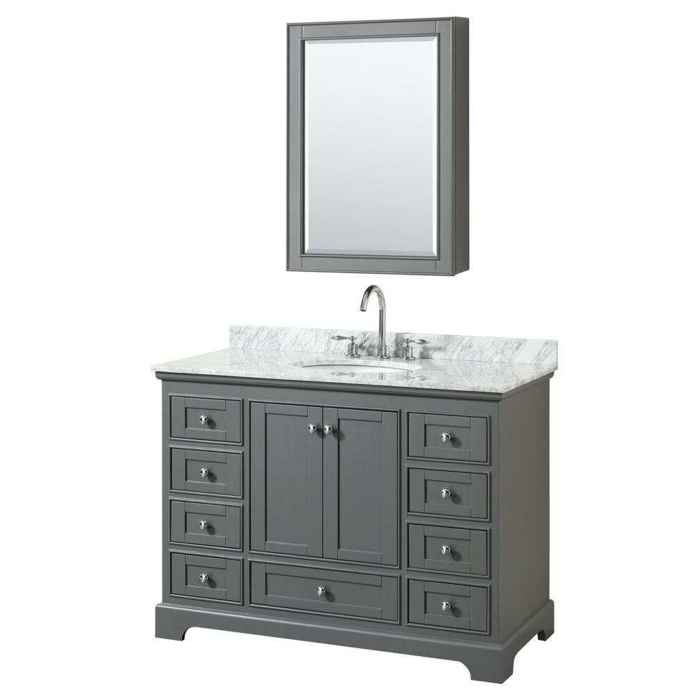 Wyndham Collection Deborah 48 Inch Single Vanity in Dark Gray, Carrara Marble Top, Oval Sink, Medicine Cabinet