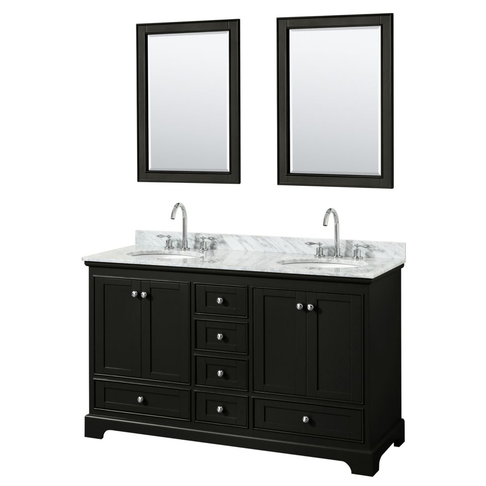 Wyndham Collection Deborah 60 Inch Double Vanity in Dark Espresso, Carrara Marble Top, Oval Sinks, 24 Inch Mirrors