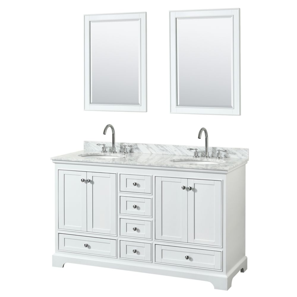 Wyndham Collection Deborah 60 Inch Double Vanity in White, Carrara Marble Top, Oval Sinks, 24 Inch Mirrors