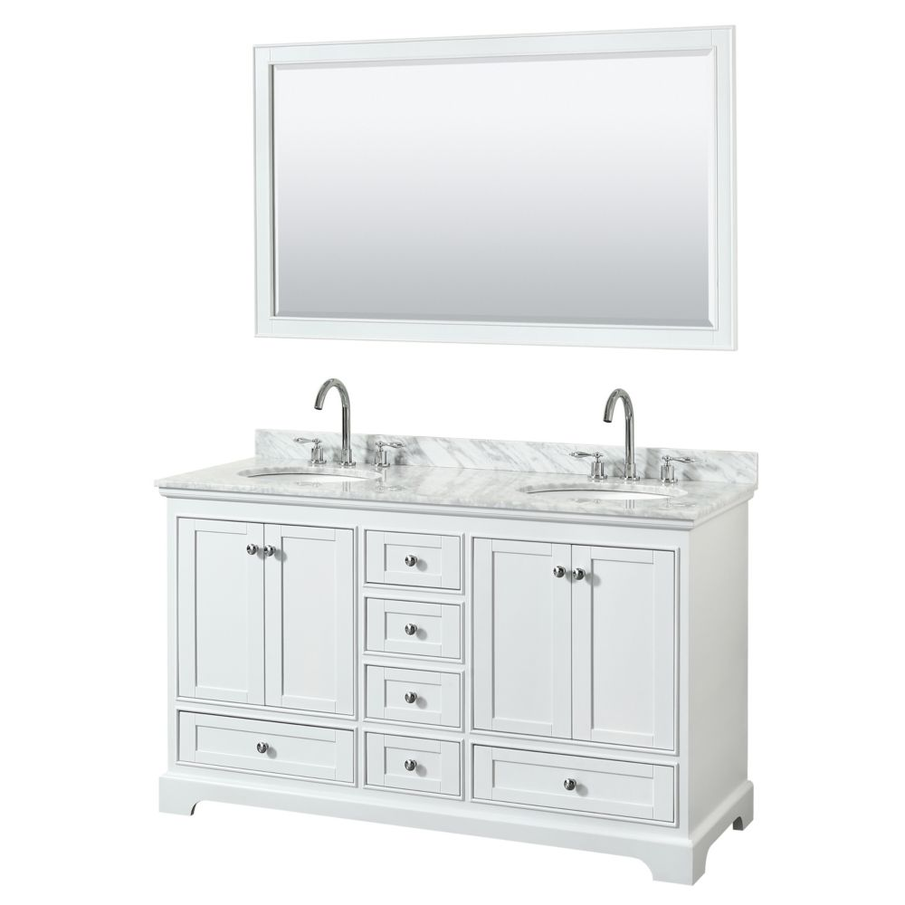 Wyndham Collection Deborah 60 Inch Double Vanity in White, Carrara Marble Top, Oval Sinks, 58 Inch Mirror