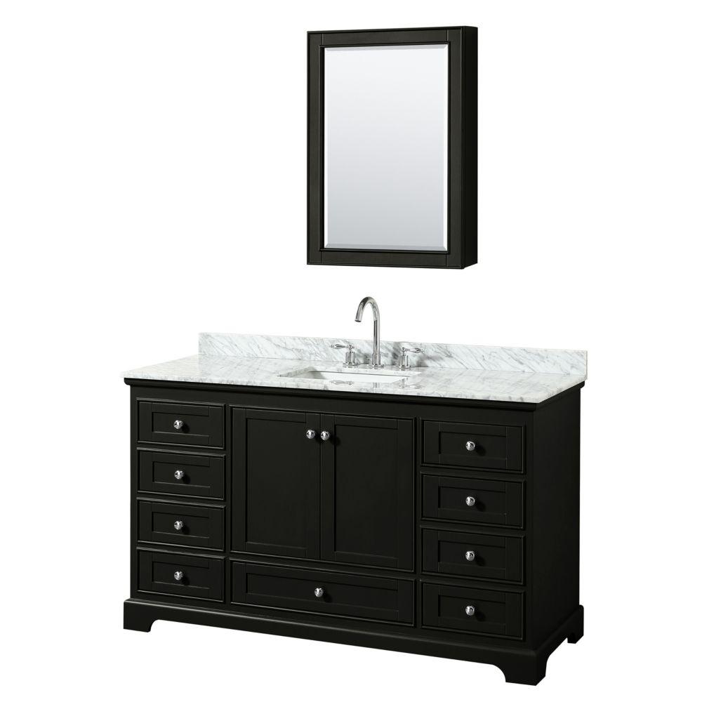 Wyndham Collection Deborah 60 Inch Single Vanity in Dark Espresso, Carrara Marble Top, Square Sink, Medicine Cabinet