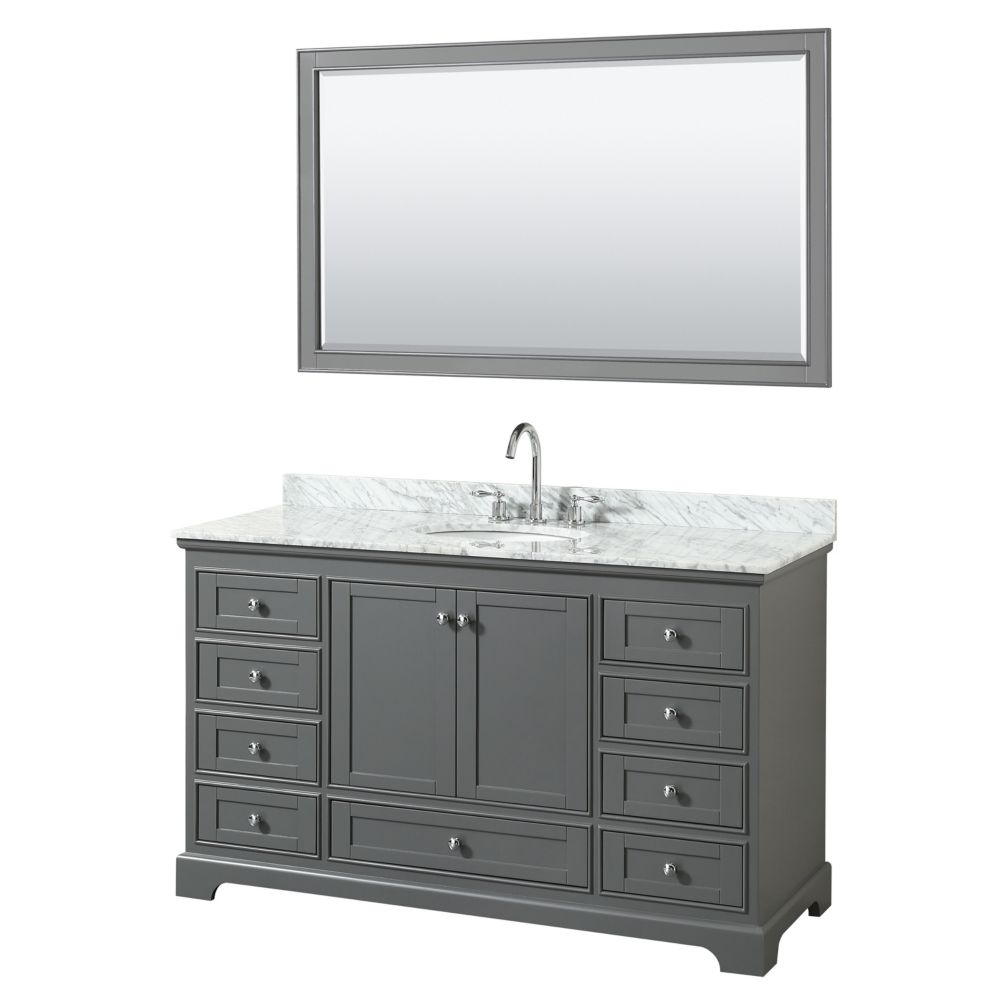 Wyndham Collection Deborah 60 Inch Single Vanity in Dark Gray, Carrara Marble Top, Oval Sink, 58 Inch Mirror