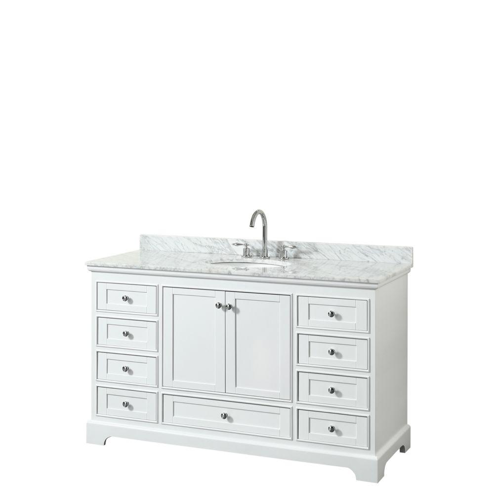 Wyndham Collection Deborah 60 Inch Single Vanity in White, Carrara Marble Top, Oval Sink, No Mirror