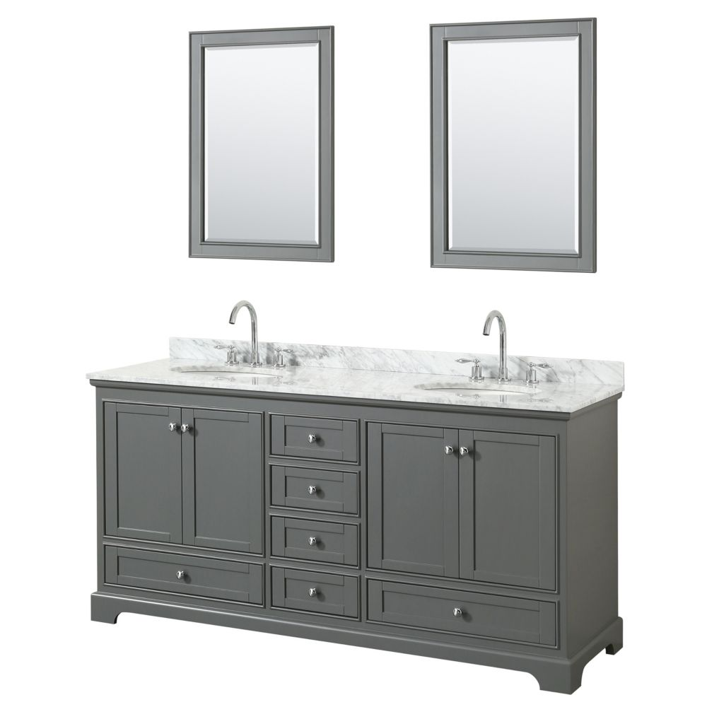 Wyndham Collection Deborah 72 Inch Double Vanity in Dark Gray, Carrara Marble Top, Oval Sinks, 24 Inch Mirrors
