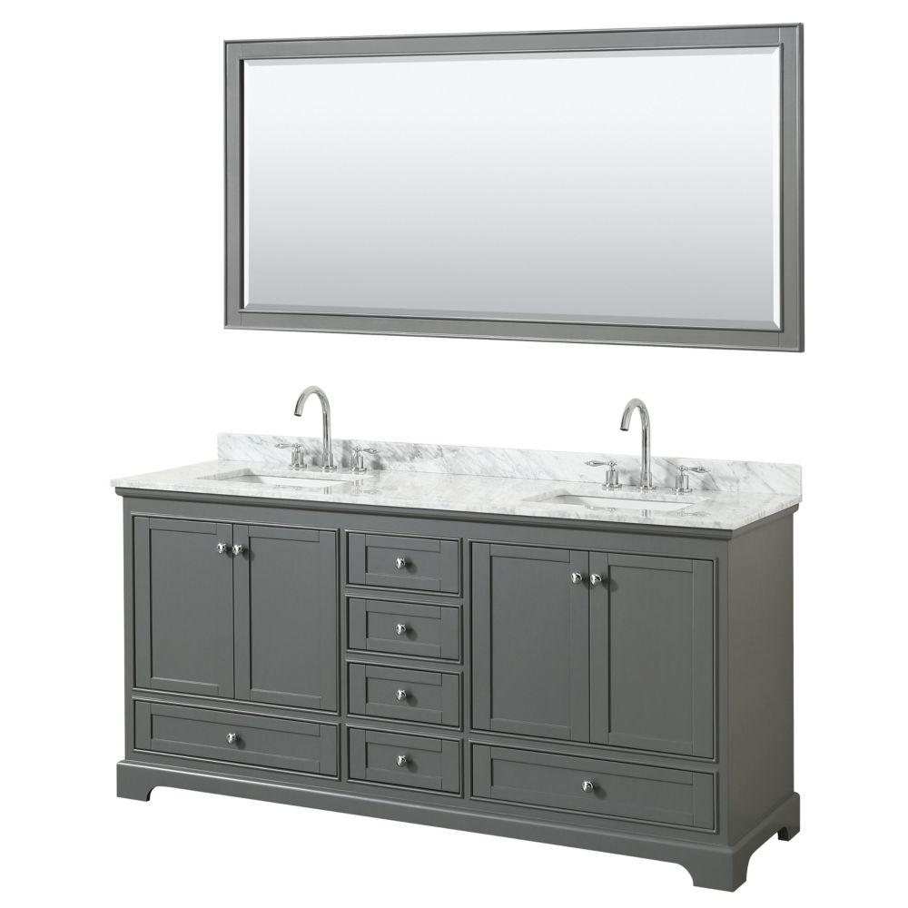 Wyndham Collection Deborah 72 Inch Double Vanity in Dark Gray, Carrara Marble Top, Square Sinks, 70 Inch Mirror