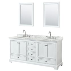 Wyndham Collection Deborah 72 Inch Double Vanity in White, Carrara Marble Top, Oval Sinks, 24 Inch Mirrors