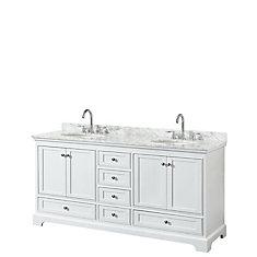 Deborah 72 Inch Double Vanity in White, Carrara Marble Top, Oval Sinks, No Mirrors