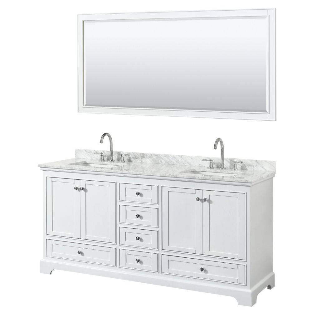 Wyndham Collection Deborah 72 Inch Double Vanity in White, Carrara Marble Top, Square Sinks, 70 Inch Mirror