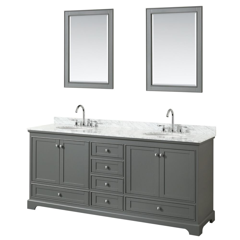 Wyndham Collection Deborah 80 Inch Double Vanity in Dark Gray, Carrara Marble Top, Oval Sinks, 24 Inch Mirrors