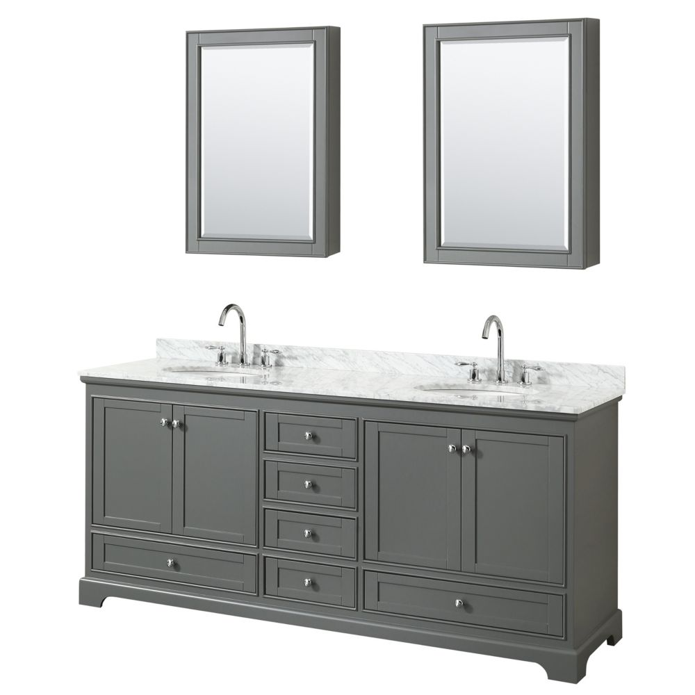Wyndham Collection Deborah 80 Inch Double Vanity in Dark Gray, Carrara Marble Top, Oval Sinks, Medicine Cabinets