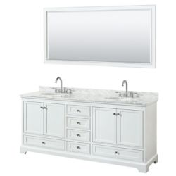 Wyndham Collection Deborah 80 Inch Double Vanity in White, Carrara Marble Top, Oval Sinks, 70 Inch Mirror