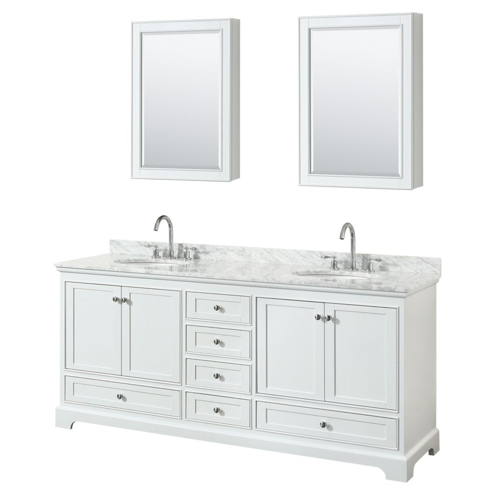 Wyndham Collection Deborah 80 Inch Double Vanity in White, Carrara Marble Top, Oval Sinks, Medicine Cabinets