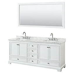 Wyndham Collection Deborah 80 Inch Double Vanity in White, Carrara Marble Top, Square Sinks, 70 Inch Mirror
