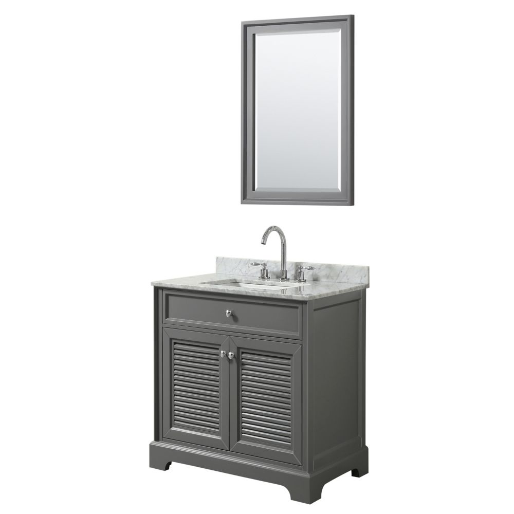 Wyndham Collection Tamara 30 inch Single Vanity in Dark Gray, Carrara Marble Top, Square Sink, 24 inch Mirror