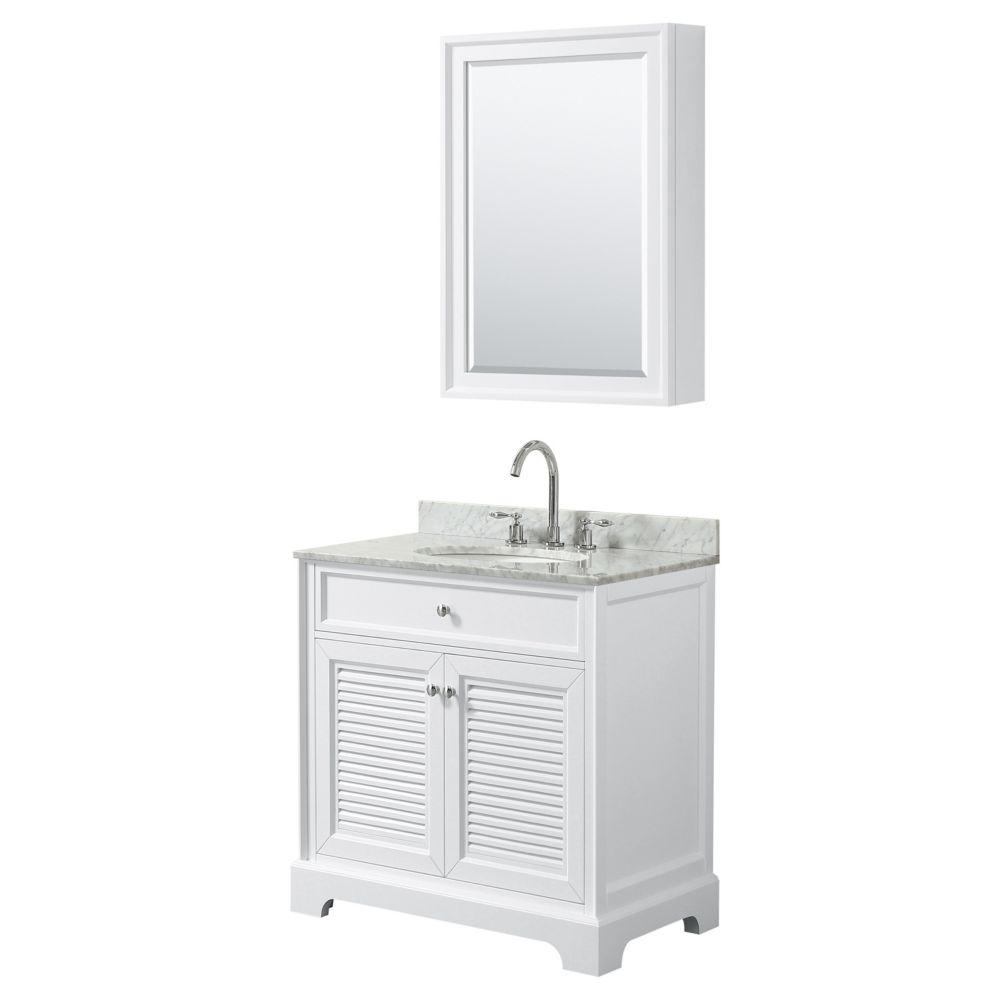 Wyndham Collection Tamara 30 inch Single Vanity in White, Carrara Marble Top, Oval Sink, Medicine Cabinet