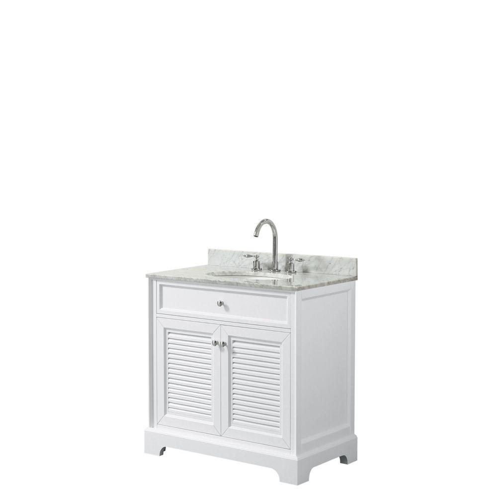 Wyndham Collection Tamara 30 inch Single Vanity in White, Carrara Marble Top, Oval Sink, No Mirror