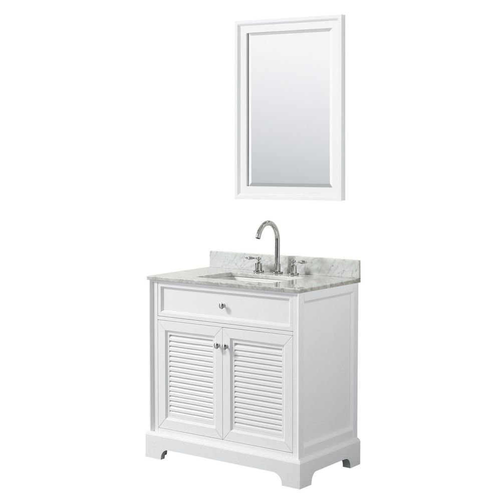 Wyndham Collection Tamara 30 inch Single Vanity in White, Carrara Marble Top, Square Sink, 24 inch Mirror