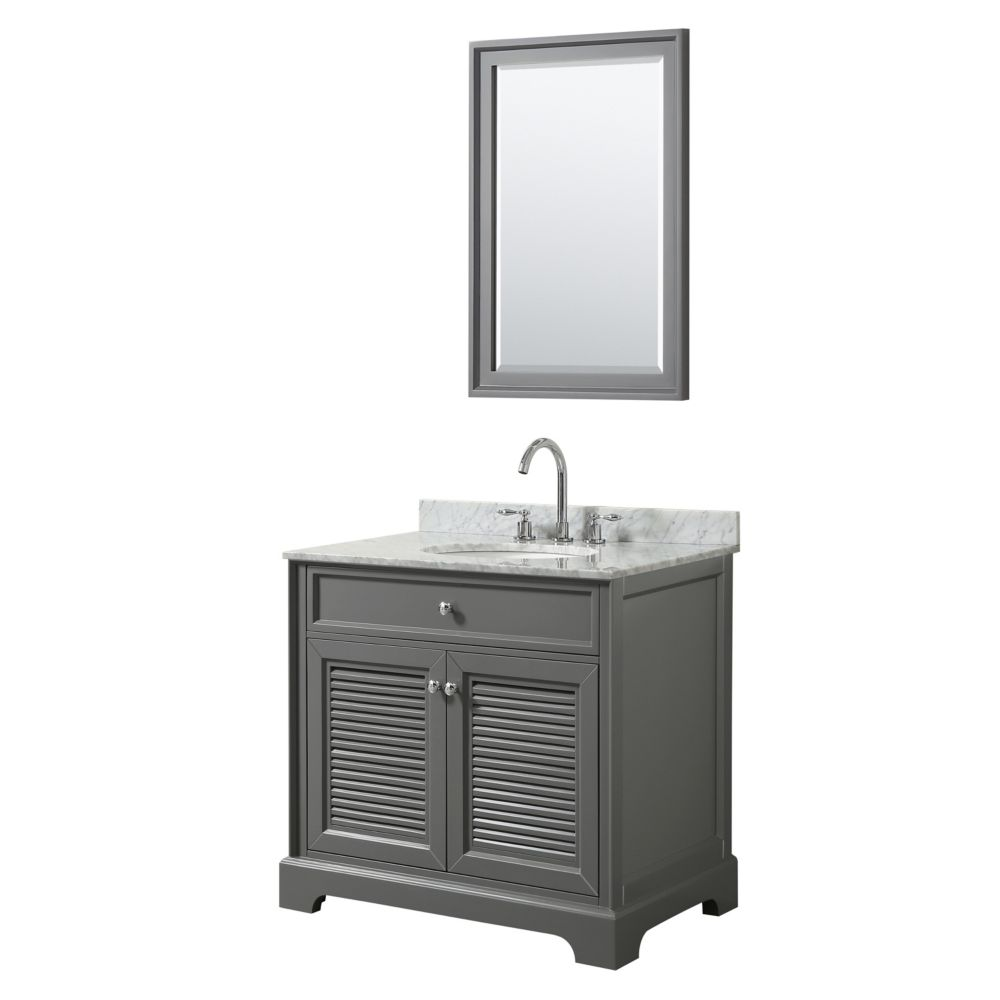 Wyndham Collection Tamara 36 inch Single Vanity in Dark Gray, Carrara Marble Top, Oval Sink, 24 inch Mirror