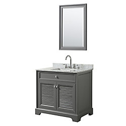 Wyndham Collection Tamara 36 inch Single Vanity in Dark Gray, Carrara Marble Top, Square Sink, 24 inch Mirror